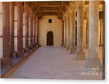 Pillars In Amber Fort Canvas Print by Inti St. Clair