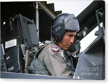 Pilot Sits In The Cockpit Of A F-117a Canvas Print by Stocktrek Images