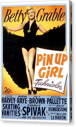 Pin Up Girl, Betty Grable, 1944 Canvas Print by Everett