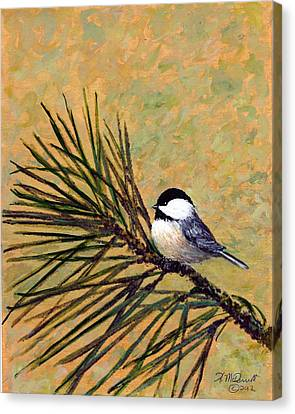 Canvas Print featuring the painting Pine Branch Chickadee Bird 2 by Kathleen McDermott