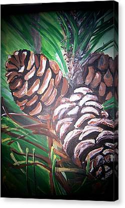 Canvas Print featuring the painting Pine Cones by Krista Ouellette
