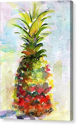 Pineapple Study Watercolor Canvas Print by Ginette Callaway