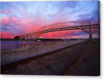Pink And Blue Canvas Print by Gordon Dean II