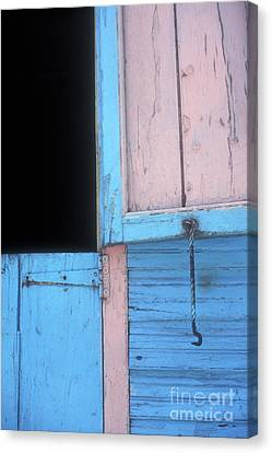 Canvas Print featuring the photograph Pink And Blue Shutters Barahona Dominican Republic by John  Mitchell