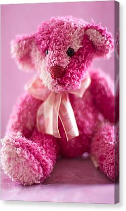 Canvas Print featuring the photograph Pink Bear Sat Alone by Ethiriel  Photography