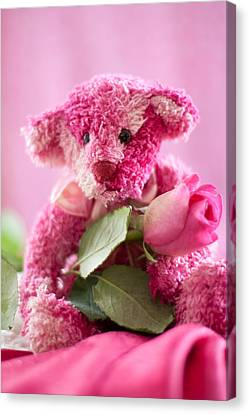 Canvas Print featuring the photograph Pink Bear With Rose by Ethiriel  Photography