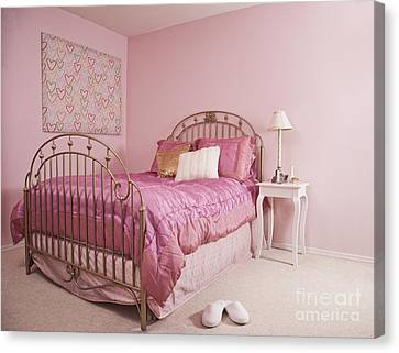 Pink Bedroom Interior Canvas Print by Jetta Productions, Inc