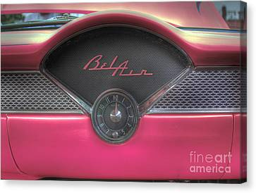 Hot Pink Custom Canvas Print - Pink Chevy Bel Air Glove Box And Clockface by Lee Dos Santos