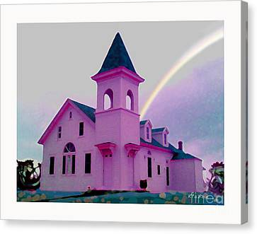 Pink Church With Rainbow Canvas Print