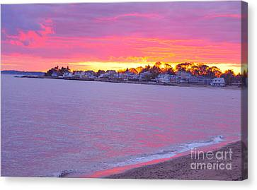 Pink Connecticut Sunset A Canvas Print by Cindy Lee Longhini