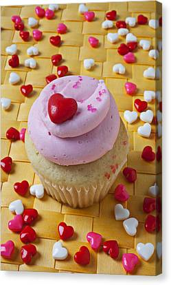 Pink Cupcake With Candy Hearts Canvas Print by Garry Gay