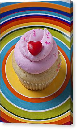 Pink Cupcake With Red Heart Canvas Print by Garry Gay