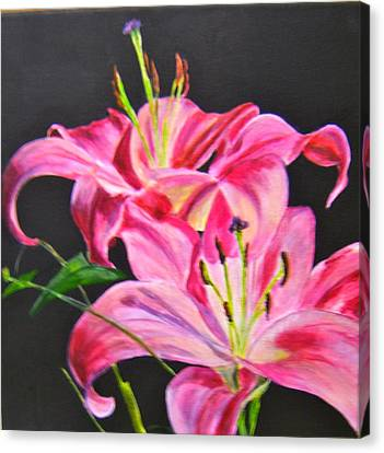 Pink Day Lilies Canvas Print