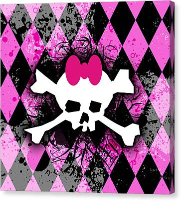 Pink Diamond Skull Canvas Print by Roseanne Jones