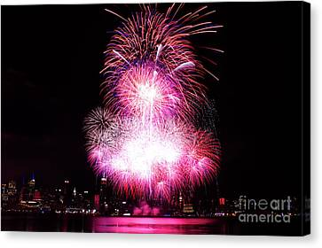 Pink Fireworks At Nyc Canvas Print by Archana Doddi