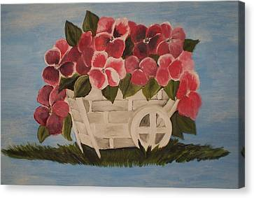 Pink Flowers In A Wagon Basket Canvas Print by Christy Saunders Church