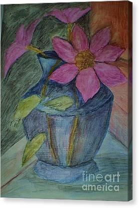 Canvas Print featuring the drawing Pink Flowers In Blue Vase by Christy Saunders Church