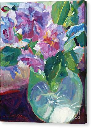 Pink Flowers In Green Glass Canvas Print by David Lloyd Glover