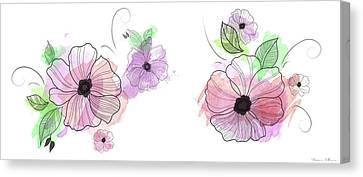 Pink Flowers Canvas Print by Nomi Elboim