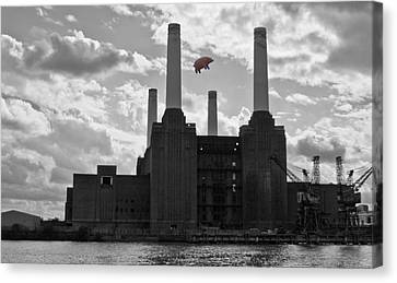 Pigs Canvas Print - Pink Floyd Pig At Battersea by Dawn OConnor