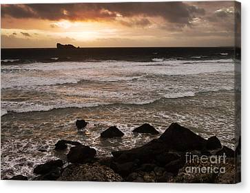 Pink Granite Coast At Sunset Canvas Print by Heiko Koehrer-Wagner