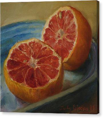 Pink Grapefruit On Blue Vintage Platter Canvas Print by Judy Palermo