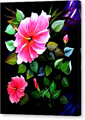 Pink Hibiscus Canvas Print by Fram Cama