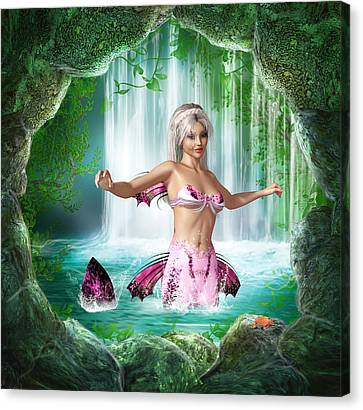 Pink Mermaid Canvas Print by Simone Gatterwe