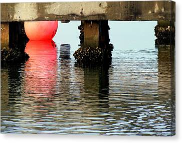 Pink Pearl Pilings Canvas Print by Karen Wiles