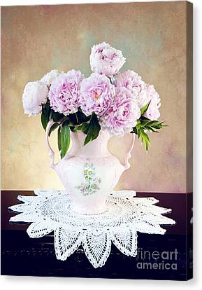 Canvas Print featuring the photograph Pink Peonies by Cheryl Davis