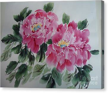 Canvas Print featuring the painting Pink Peony by Dongling Sun