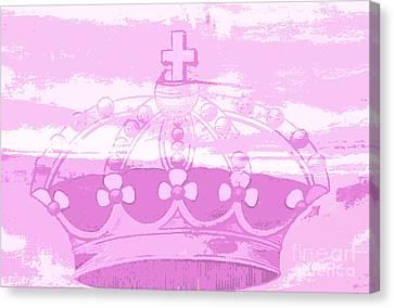 Pink Princess Crown Art Canvas Print by ArtyZen Kids