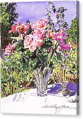 Pink Roses In Crystal Vase Canvas Print by David Lloyd Glover