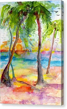 Pink Sands And Palms Island Dreams Watercolor Canvas Print by Ginette Callaway