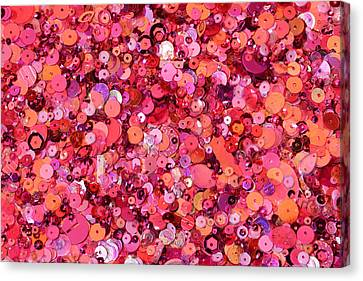 Pink Sequins Of Various Shapes And Sizes Canvas Print by Andrew Paterson
