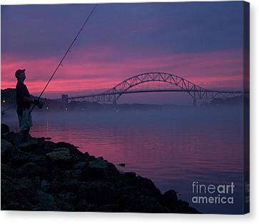 Pink Skies In The Morn Canvas Print by John Doble