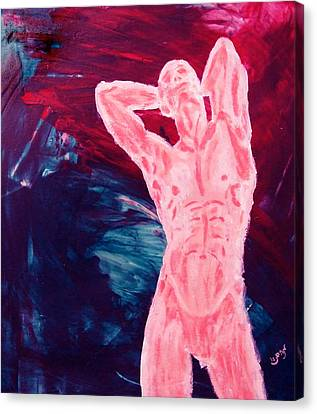 Pink Transgender Male Nude Figure On Blue Green Red Chaotic Background Of Transformation And Change Canvas Print by MendyZ M Zimmerman