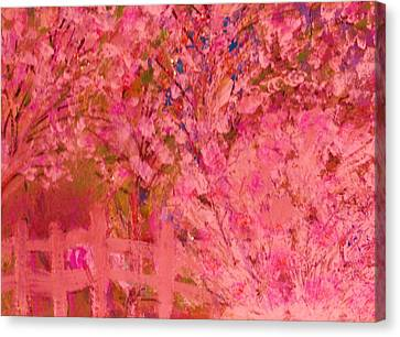 Pink Tree And Fence Canvas Print by Anne-Elizabeth Whiteway
