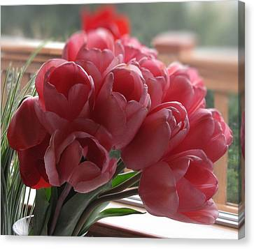 Canvas Print featuring the photograph Pink Tulips In Vase by Katie Wing Vigil