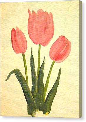 Pink Tulips Canvas Print by Leea Baltes