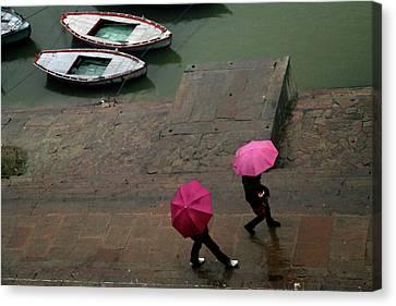 Pink Umbrellas Canvas Print by Copyright Soumya Bandyopadhyay Photography