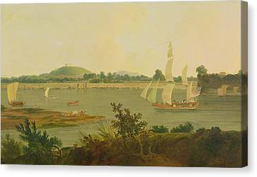Pinnace Sailing Down The Ganges Past Monghyr Fort Canvas Print by Thomas Daniell