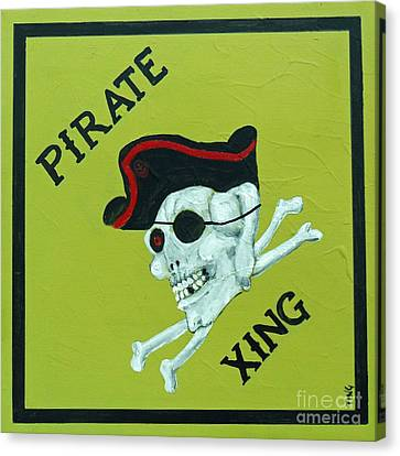 Canvas Print featuring the painting Pirate Crossing Beware by Doris Blessington