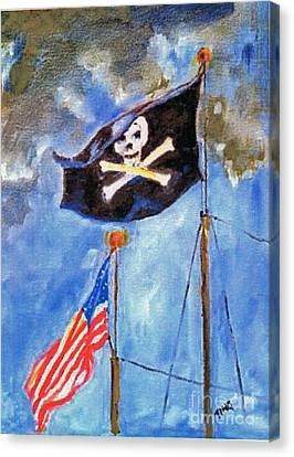 Canvas Print featuring the painting Pirate Flag Over Savannah by Doris Blessington