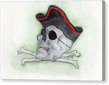 Canvas Print featuring the painting Pirate Greetings by Doris Blessington