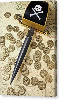 Pirate Sword And Gold Coins On Old Map Canvas Print by Garry Gay