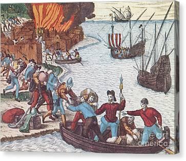 Pirates Burn Havana, 1555 Canvas Print by Photo Researchers