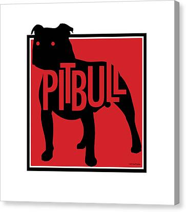 Pit Bull Red Canvas Print