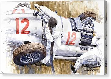 Pit Stop German Gp 1939 Mercedes Benz W154 Rudolf Caracciola Canvas Print by Yuriy  Shevchuk