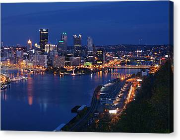 Canvas Print featuring the photograph Pittsburgh In Blue by Michelle Joseph-Long